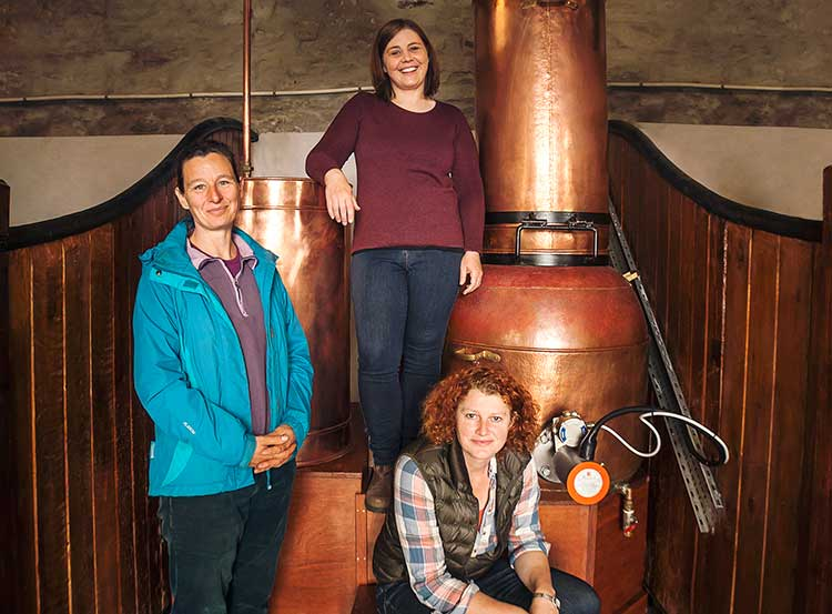 From left - Claire Fletcher, Alicia MacInnes and Georgina Kitching from Lussa Gin