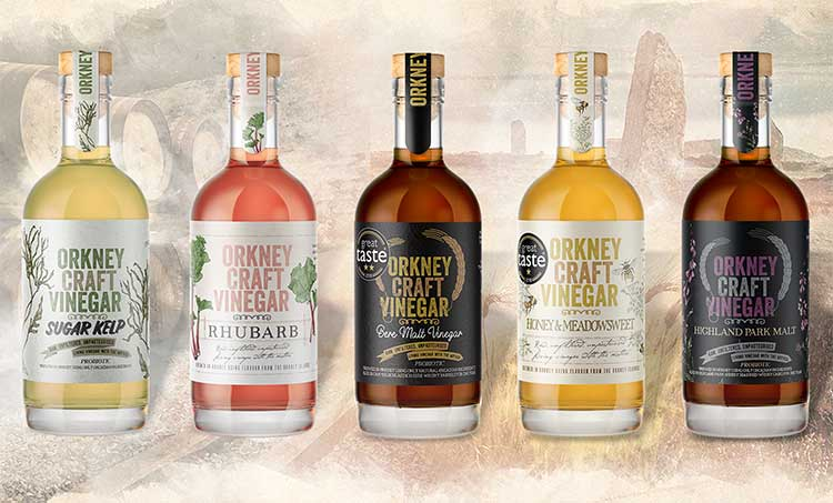Orkney Craft Vinegar Product Range. Image credit www.orkney.com